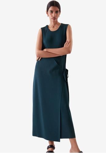 COS green and blue Sleeveless Wrap Dress 5E35CAAEDD4F37GS_1