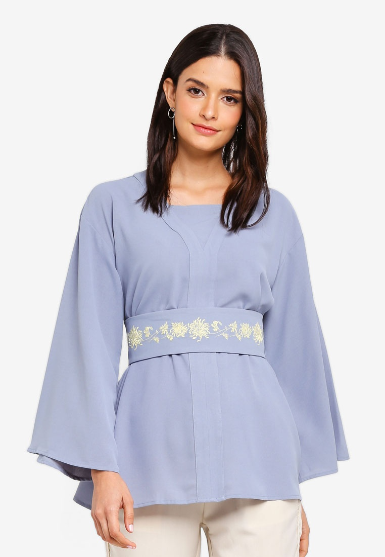 Kimono Zalia Blue Dusty Top Embroidered Yqzq5p