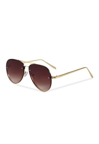 Quattrocento Eyewear Quattrocento Eyewear Italian Sunglasses with Brown Lenses Model Caruso 11F11GL786A7BBGS_1