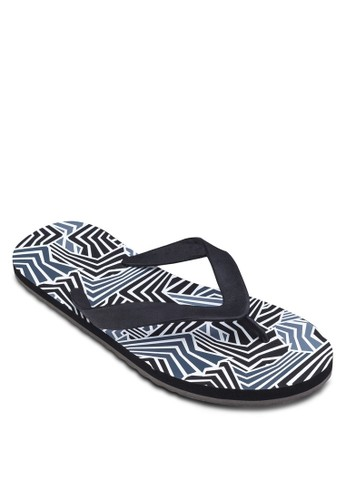 幾何印zalora鞋花夾腳拖, 鞋, 拖鞋