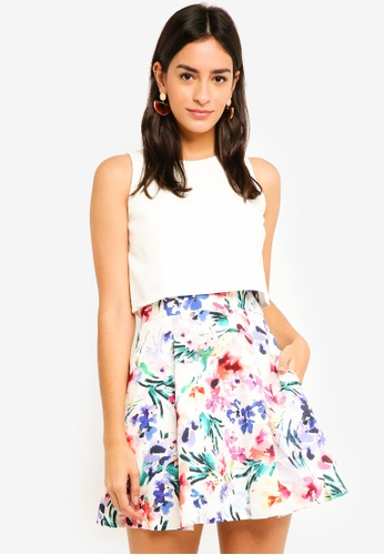MDSCollections white Milla Overlay Dress In White Floral BFDE7AA283BE4EGS_1