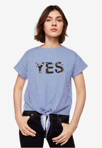 Mango blue Knot Striped T-Shirt F5BD0AADA4E78AGS_1
