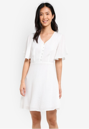 ZALORA white Fit & Flare Dress With Flared Sleeves EDDD6AA128AEB1GS_1
