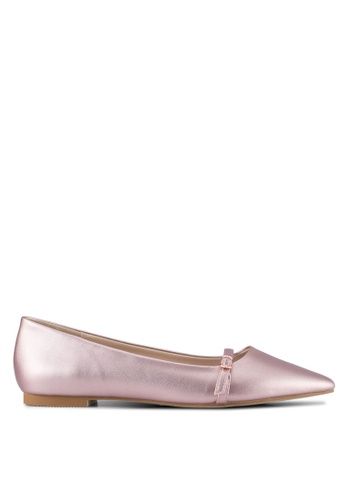 Velvet pink Buckle Ballet Flat Shoes 8E311SH6A676C0GS_1