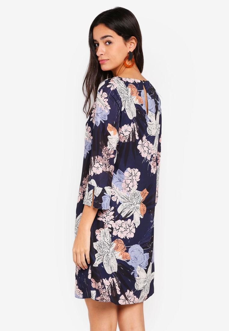 Wallis Navy Floral Print Dress Navy Blue Tunic q4rxzB4wI0