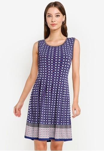Max Studio orange and blue Knit Sleeveless Pleated Dress 0D5F7AABB3BA28GS_1