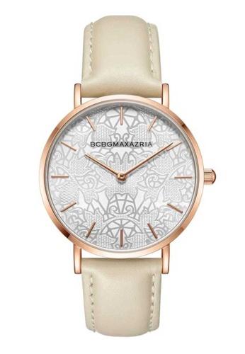 BCBG white BCBGMAXAZRIA BG50696010 Rose Gold and Cream Leather Watch B1540ACF6A84C9GS_1