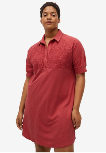 Violeta by MANGO red Plus Size Ruched Shirt Collar Dress 0AD95AA95BDB2EGS_1