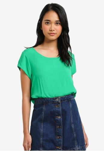 ONLY green Nova Short Sleeve Solid Woven Top FF891AAE2D5888GS_1