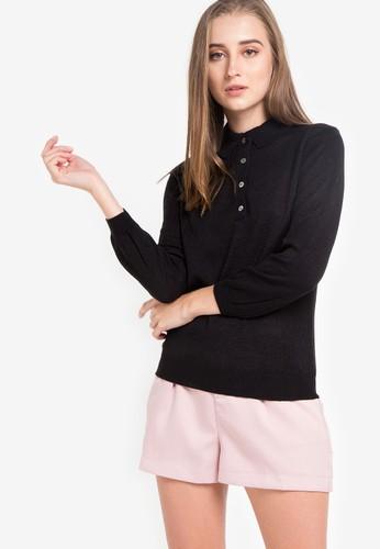 Noir Sur Blanc black Ladies Polo Long Sleeve 87887AA53401AFGS_1