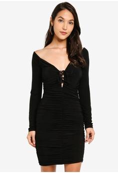 fa930be2c982 MISSGUIDED black Slinky Ruched Mini Dress 9EEAAAA119A198GS_1