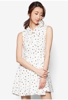 Tie Collar Polka Dot Sleeveless Dress
