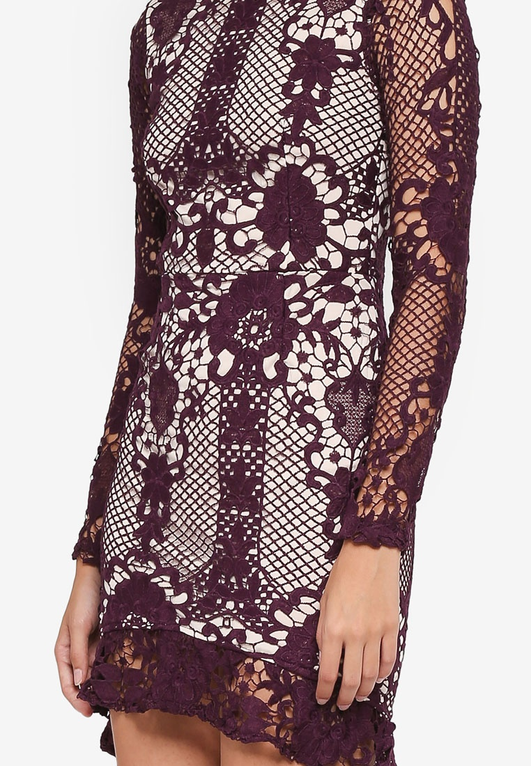 Dress Sleeve MISSGUIDED Lace Flare Flippy Bodycon Hem Plum 8pWqFaXSq