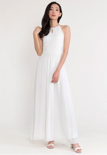 BEBEBEIGE white BebeBeige Halter Neck Sleeveless Solid Color Maxi Evening Long Dinner Dress 6D3C3AAEC6BB5EGS_1