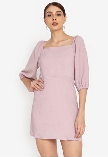 ZALORA OCCASION pink Balloon Sleeve Square Neck Dress 6CBE0AA39847AFGS_1