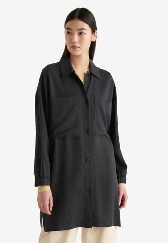 Cos black Longline Patch Pocket Shirt 48B1BAA36246F5GS_1