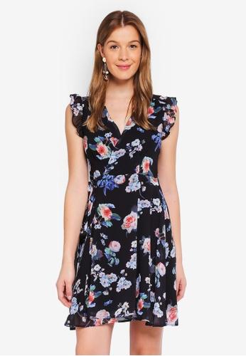 Angeleye black Floral Wrap Dress 9116CAAA9F2CD1GS_1
