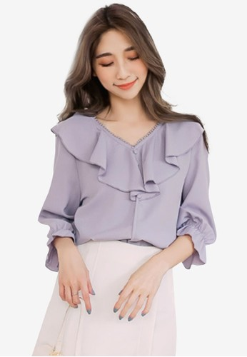 Eyescream grey Ruffle V-Neck Blouse CD4D8AA8E4927CGS_1
