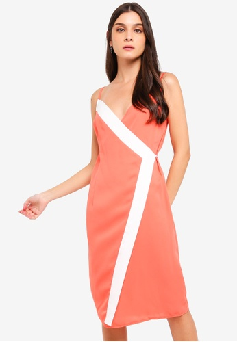 ZALORA orange and multi Contrast Panel Overlap Tank Dress 5255CAAB5EAEABGS_1