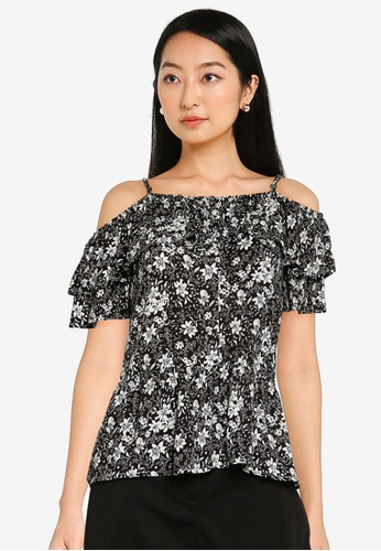 ZALORA BASICS multi Ruffled Cold Shoulder Top E60AFAA7F50BC9GS_1