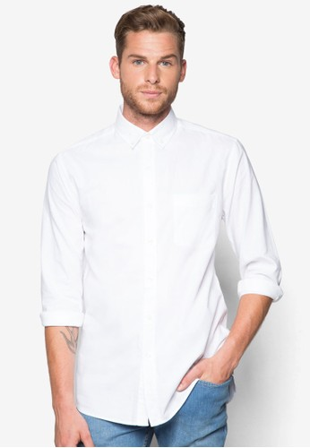 White Oxford Long Sesprit auleeve Casual Shirt, 服飾, 素色襯衫