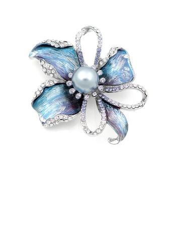 Glamorousky grey Flower Brooch with Silver Austrian Element Crystal and Grey Fashion Pearl BC4CFACB604A8EGS_1