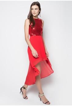 Angeli Sequin Long Back Dress