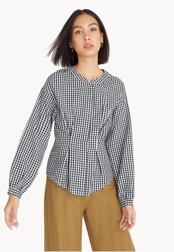 683943a8 Pomelo multi Gingham Button Up Mandarin Collar Blouse 5712EAAB9B186EGS_1