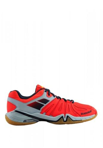 Babolat grey and red Shadow Spirit Men's Badminton Shoes BA220SH0INSRPH_1
