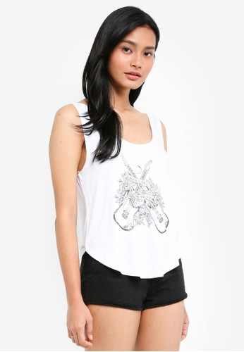 Cotton On white and multi TBar Sunny Scoop Neck Tank Top 0B369AAD402817GS_1