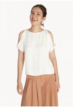 Cold Shoulder Boat Neck Top - Off White