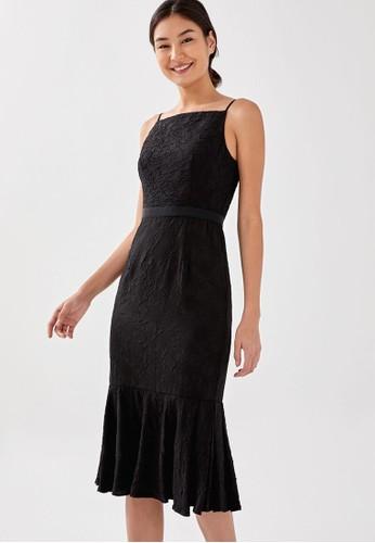 Love, Bonito black Jiniya Textured Ruffle Midi Dress 68944AAC53D221GS_1