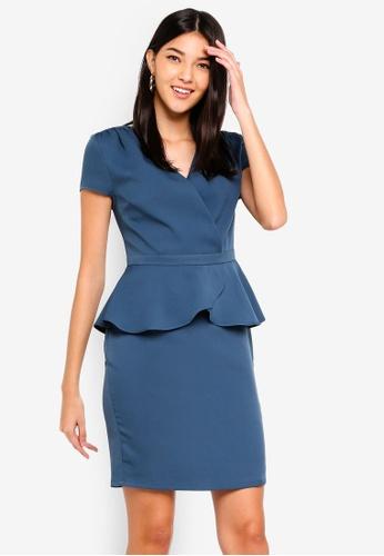 ZALORA green Short Sleeves Wrap Peplum Dress 40F4AAA1A46C08GS_1