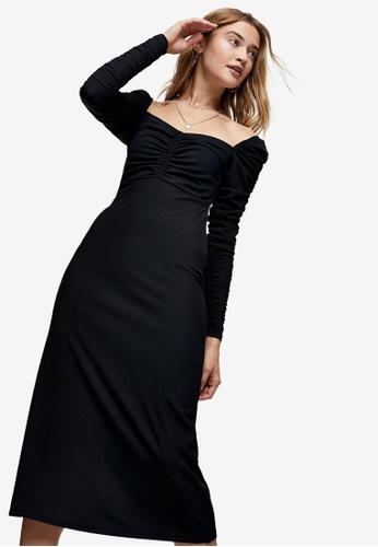TOPSHOP black Black Ribbed Ruched Midi Dress D9359AAC9A97C0GS_1