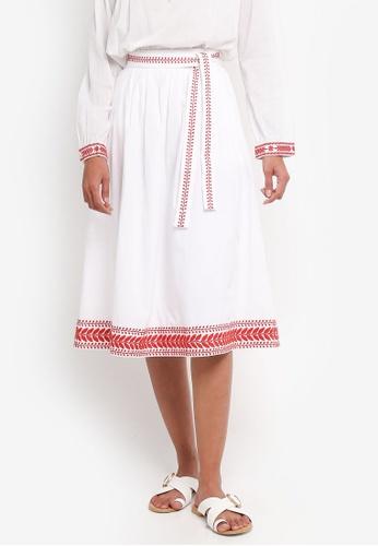 J.Crew white and red Embroidered Bradbury Midi Skirt 0FFB1AA51E3CBBGS_1