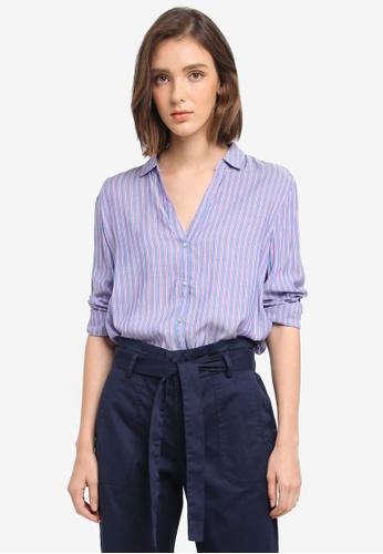 ESPRIT blue Woven Long Sleeve Blouse C1889AA1323293GS_1