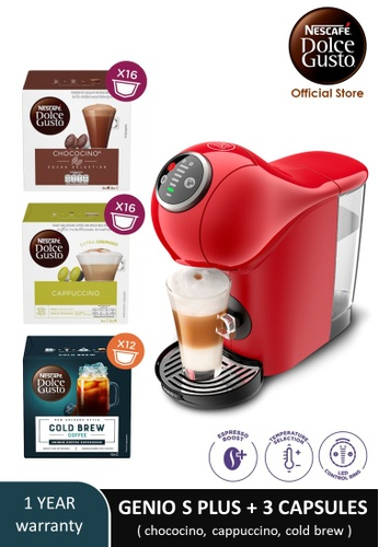 NESCAFE Dolce Gusto red GENIO S PLUS Automatic Coffee Machine with 3 boxes of NESCAFE Dolce Gusto capsules A03A2ESDFF61FAGS_1
