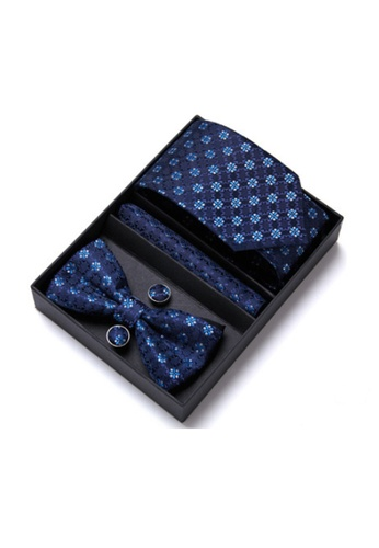 Kings Collection blue Blue Tie, Pocket Square, Cufflinks, Bow Tie 4 Pieces Gift Set (KCBT2141) 6CFB9AC0A082C5GS_1