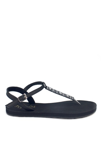 Ripples black Tara Aztec Slide'N'Style T-Bar Sandals RI425SH14UYJSG_1