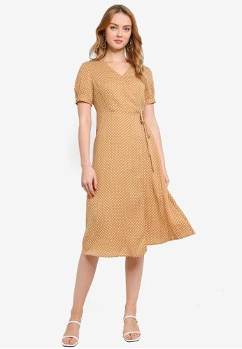 Hopeshow brown Polka Dot V-Neck Midi Dress 0AEF6AA75B8E4CGS_1