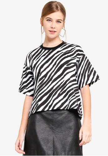 TOPSHOP white Zebra Print Boxy T-Shirt 3B17CAA49FA926GS_1