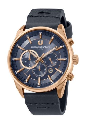 Charles Jourdan blue Charles Jourdan Men CJ1043-1582C Blue Genuine Leather Watch 7ED50AC2D5DFE5GS_1