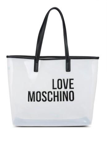 Love Moschino black and white Logo Tote Bag 20802AC66AE1CBGS_1