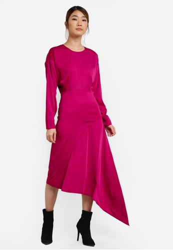 WAREHOUSE pink Asymmetric Midi Dress WA653AA0SHKYMY_1