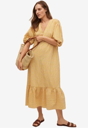 Mango yellow Gingham Check Cottoned Dress 035ACAA3340CEEGS_1