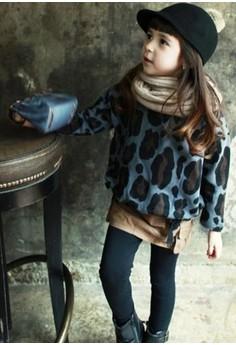 LEOPARD-Print Pullover Top (in Blue)
