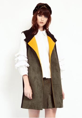 拼接麂皮長背心, 服飾, 夾esprit outlet 桃園克 & 大衣
