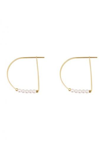 SKEDA gold Gold Delia Pearl Hoop Earrings 11EBEACB494292GS_1