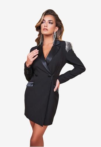Lavish Alice black Tux Dress With Diamante Shoulder Trim 42039AABB136BAGS_1