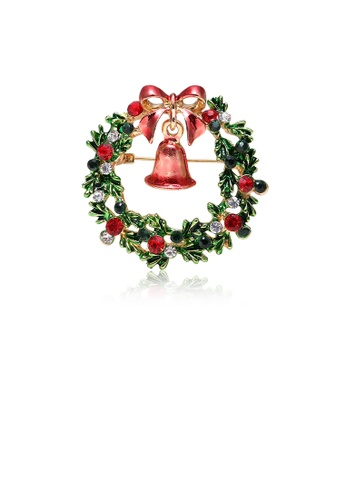 Glamorousky silver Fashion Personality Plated Gold Christmas Bell Wreath Brooch with Cubic Zirconia 1445DAC1EE7C6BGS_1